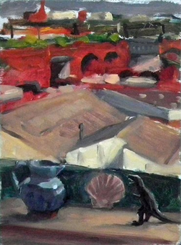 424 - Liam Spencer, Objects on the Window Sill, oil.
