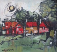 488 - Wilf Roberts, Red Houses, oil on board.