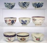 Lot 127-Nine 18th century English porcelain teabowls