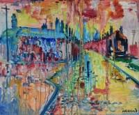 382 - J.L. Isherwood, Pink Rain, Great George Street, Wigan, oil.