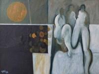 386 - Geoffrey Key, Orange Moon, oil.