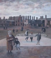 394 - Roger Hampson, The Roundabout, oil.