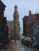 403 - Arthur Delaney, Market Place, Manchester, oil.