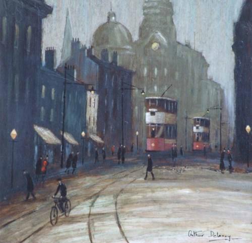 405 - Arthur Delaney, Manchester street scene, oil.