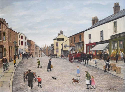 415 - Tom Dodson, The High Street, Clitheroe, oil.