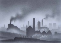 499 - Trevor Grimshaw, Train Leaving a Town, pencil and graphite.