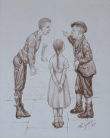 523 - Tom Dodson, The Argument, pencil.
