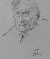 535 - William Ralph Turner, Portrait of L.S. Lowry, pencil.