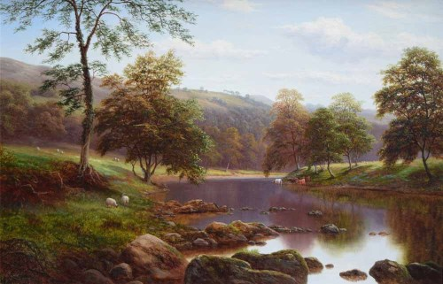 Lot 584-William Mellor, On The Wharfe, Bolton Wood, Yorkshire, oil.