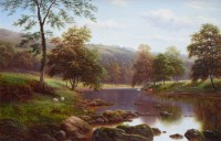 584 - William Mellor, On The Wharfe, Bolton Wood, Yorkshire, oil.