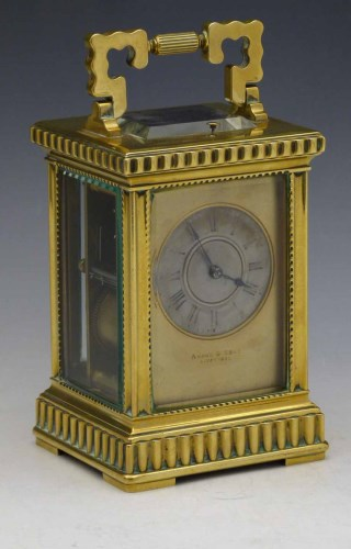 Lot 637-French brass carriage clock.