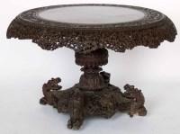 684 - Burmese carved hardwood circular centre table