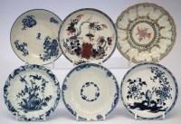 Lot 93-Six 18th century English porcelain saucers