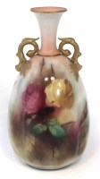 Lot 134-Royal Worcester Hadley ware vase signed H.