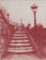 367 - Harold Riley, The Railway Bridge, Salford, red chalk.