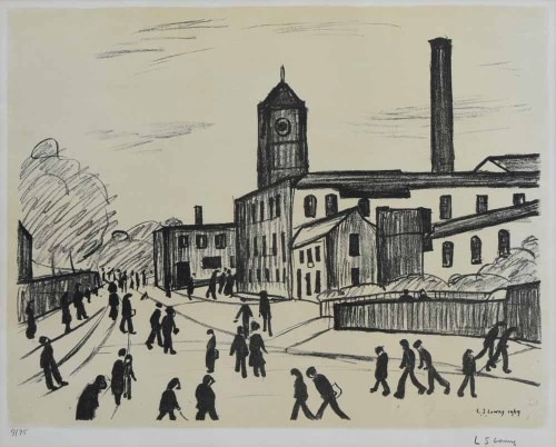 375 - L.S. Lowry, A Northern Town, signed lithograph.