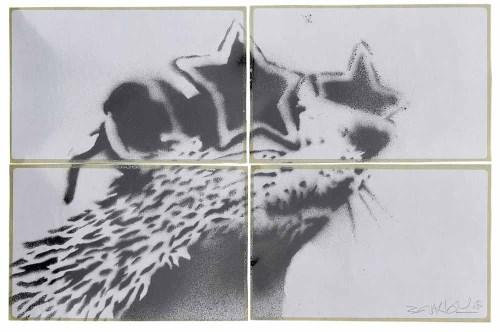 Lot 429-Banksy, Rat, spray paint on paper (4).