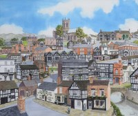 Lot 474-Martin Stuart Moore, Memories of Nantwich, watercolour.