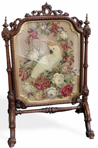 Lot 608-Victorian tapestry fire screen.