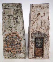 270 - Two Troika coffin shape vases, painted marks and