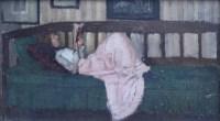 493 - Pierre Adolphe Valette, Gabriella in Pink, oil.