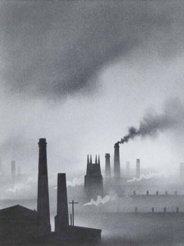 Lot 563-Trevor Grimshaw, Smoke and Clouds, graphite.