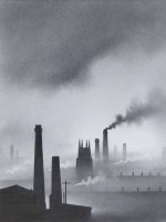 563 - Trevor Grimshaw, Smoke and Clouds, graphite.