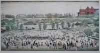 606 - After L.S. Lowry, Peel Park, signed print.
