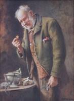 657 - Charles Spencelayh, The Treasured Yellow-Boy, watercolour.