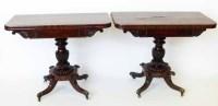 723 - Pair of William IV fold-over mahogany tea tables.