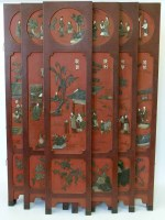728 - Oriental six fold red lacquered panel screen