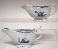 135 - Two Lowestoft sauceboats circa 1770