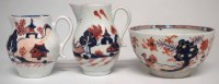 Lot 138-Two Lowestoft creamjugs and a bowl circa 1780