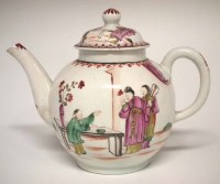 Lot 139-Lowestoft teapot circa 1780, painted with