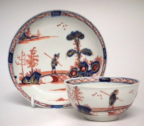 Lot 147-Vauxhall teabowl and saucer circa 1755, painted
