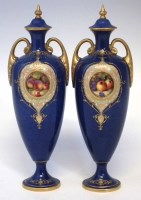 222 - Pair of Royal Worcester fruit lidded urns William