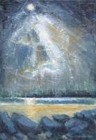 413 - Wilf Roberts, Sun above Trearddur, oil.