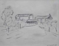 450 - L.S. Lowry, Clifton Moss Farm, pencil.