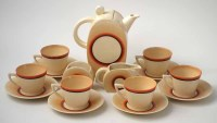 222 - Clarice Cliff coffee set,