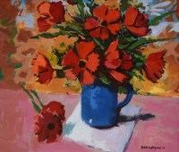 414 - Donald McIntyre, Flowers in a Blue Vase, acrylic.