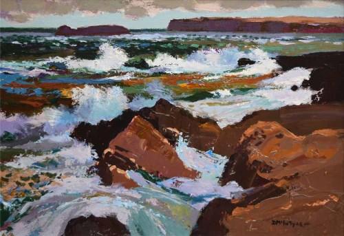 425 - Donald McIntyre, Surf and Rocks No.1, acrylic.