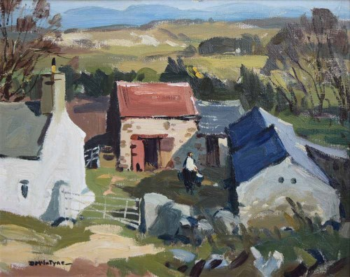 Lot 435-Donald McIntyre, Mountains from Mynydd Bodafon, oil on board.
