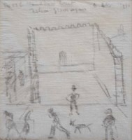 480 - L.S. Lowry, The Old Handball Court, Nelson, Glamorgan, drawing on a napkin.