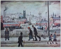 505 - After L.S. Lowry, View of a Town, signed print.