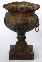 573 - Cast iron Coalbrookdale urn.