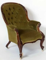589 - Victorian walnut button-back chair.