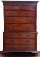 594 - Georgian walnut chest on chest.