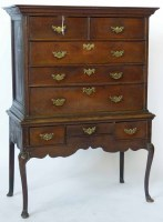 628 - George III oak chest on stand.