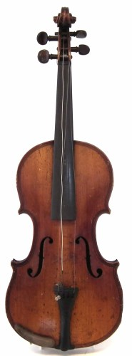 Lot 27-Violin in the style of Gaspar da Salo, with one piece tightly flamed