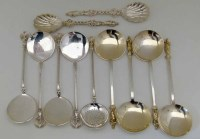 Lot 157-Four silver gilt apostle spoons; two silver apostle spoons; five angel spoons